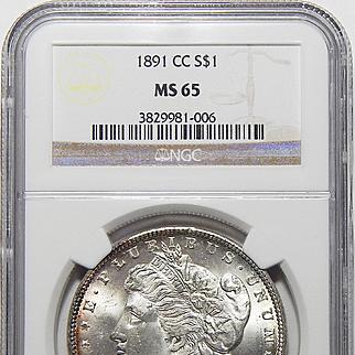1891-CC Ngc MS65 Morgan Dollar