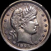 1893 Ngc AU55 Barber Quarter