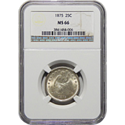 1875 Ngc MS66 Liberty Seated Quarter