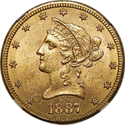 1887-S Ngc MS63 $10 Liberty Head Gold