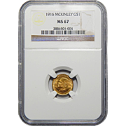 1916 Ngc MS67 $1 McKinley Gold