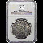 1873 Ngc MS63 Liberty Seated Dollar