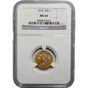 1910 Ngc MS63 $2.50 Indian Gold