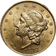 1873 Ngc MS60 $20 Open 3 Liberty Head Gold