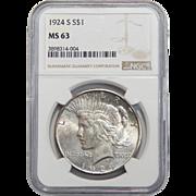 1924-S Ngc MS63 Peace Dollar