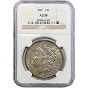 1901 Ngc AU58 Morgan Dollar