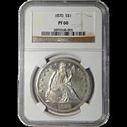 1870 Ngc PF60 Liberty Seated Dollar