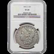 1893-S Ngc VF20 Morgan Dollar
