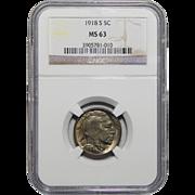 1918-S Ngc MS63 Buffalo Nickel
