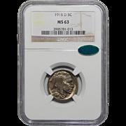 1918-D Ngc/Cac MS63 Buffalo Nickel