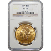 1899 Ngc MS63 $20 Liberty Head Gold