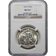 1921-D Ngc MS65+ Walking Liberty Half Dollar