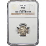 1879 Ngc PF64 Three-Cent Copper Nickel