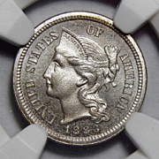 1883 Ngc PF62 Three-Cent Copper Nickel