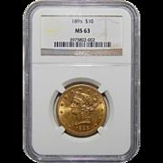 1895 Ngc MS63 $10 Liberty Head Gold