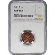 1931-S Ngc MS62RB Lincoln Wheat Cent