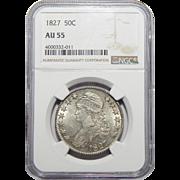 1827 Ngc AU55 Capped Bust Half Dollar