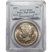 1921 Pcgs MS64 High Relief Peace Dollar