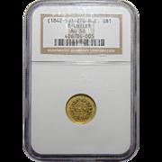 1842-50 Ngc AU58 A Bechtler G$1 K-24 27 Grains, 21 Carat Plain Edge