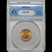 1926 Anacs AU58 $2.50 Sesquicentennial Gold