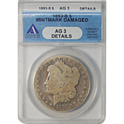 1893-S Anacs AG3 Details (Mintmark Damaged) Morgan Dollar