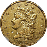 1834 Ngc AU53 Crosslet 4 $5 Classic Head Gold