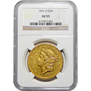1852-O Ngc AU55 $20 Liberty Head Gold