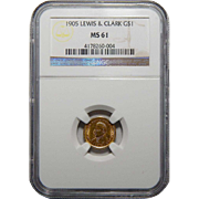 1905 Ngc MS61 $1 Lewis and Clark Gold