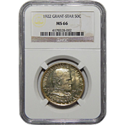 1922 Ngc MS66 Grant Star Half Dollar