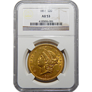 1851 Ngc AU53 $20 Liberty Head Gold