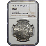 1878 7TF Reverse of 1878 Ngc MS65 Morgan Dollar