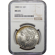1880-CC Ngc MS65 Morgan Dollar