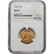 1929 Ngc MS65 $5 Indian Gold