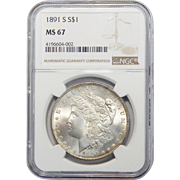 1891-S Ngc MS67 Morgan Dollar