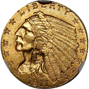 1911-D Ngc MS65 $2.50 Strong D Indian Gold
