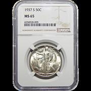 1937-S Ngc MS65 Walking Liberty Half Dollar