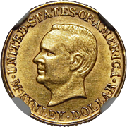 1917 Ngc AU55 $1 McKinley Gold