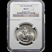 1920 Ngc MS63 Pilgrim Half Dollar