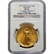 1907 Ngc MS65 $20 High Relief-Wire Edge St. Gaudens (Las Vegas Collection)