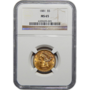 1881 Ngc MS65 $5 Liberty Head Gold