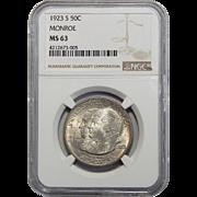 1923-S Ngc MS63 Monroe Half Dollar