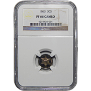 1863 Ngc PR66CAM Three-Cent Silver
