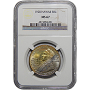 1928 Ngc MS67 Hawaiian Half Dollar