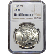 1935 Ngc MS65 Peace Dollar