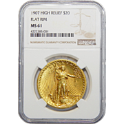 1907 Ngc MS61 $20 High Relief-Flat Edge St. Gaudens Gold