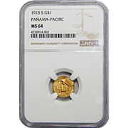 1915-S Ngc MS64 $1 Panama-Pacific Gold