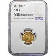1847-D Ngc AU58 $2.50 Liberty Head Gold