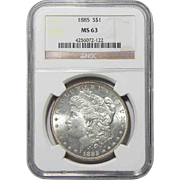 1885 Ngc MS63 Morgan Dollar