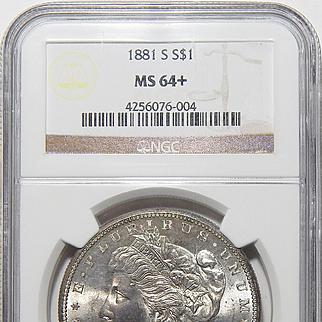 1881-S Ngc MS64+ Morgan Dollar
