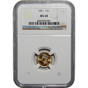 1881 Ngc MS68 $1 Gold